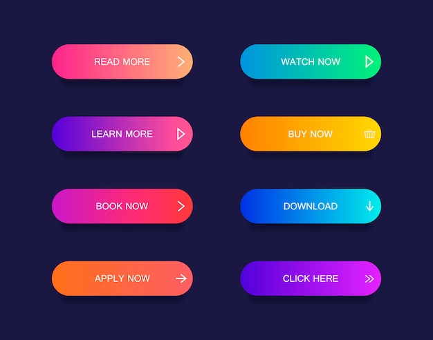 Set of modern material style buttons for website, mobile app and infographic . different gradient colors. Premium Vector