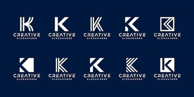 Set modern monogram letter k logo template