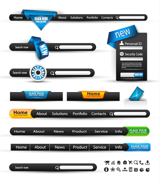 Set of modern original style search banners Premium Vector