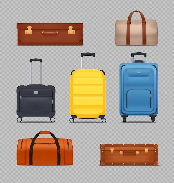 Set di moderni bagagli in plastica Vettore gratuito