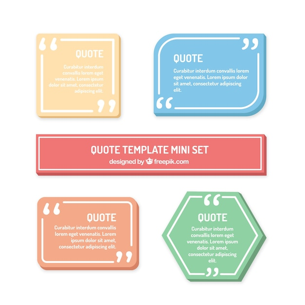 Set of modern quotes template Free Vector