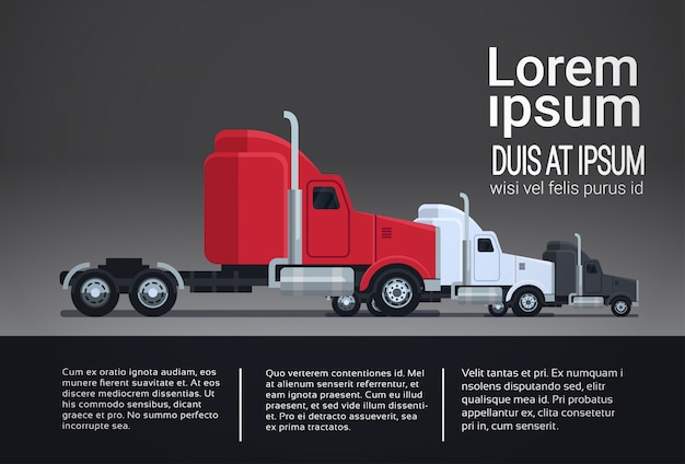Set of modern semi truck trailer vehicle infographic template elements shipping and delivery concept Premium Vector