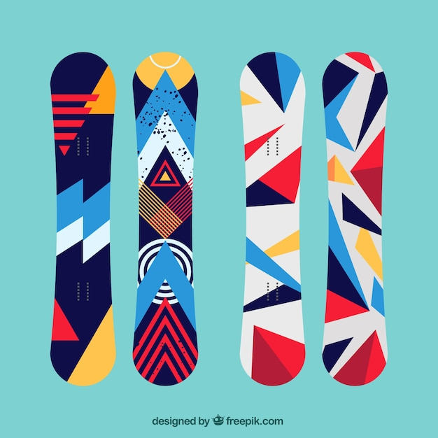 Set of modern snowboards in geometric style Premium Vector