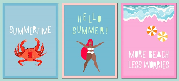 Premium Vector Set Of Modern Summer Greeting Cards Variety Of Hand Drawn Cards Posters Modern Handwritten Quotes About Summer Vacation And Travel Concept Waves On The Sea Shore Red Crab And Happy