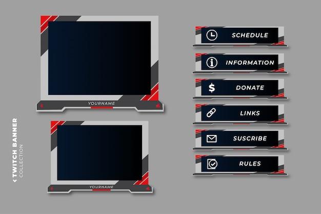 Set di pannelli di gioco moderni twitch per ui design template Vettore gratuito
