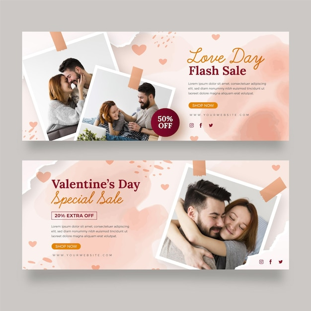 Set of modern valentine's day banners with photo Free Vector
