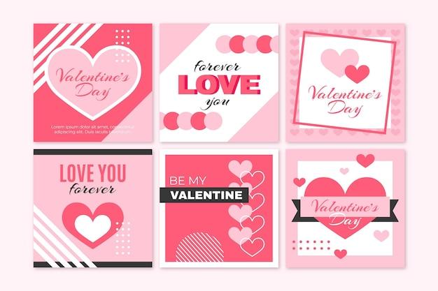 Set of modern valentine's day posts Premium Vector