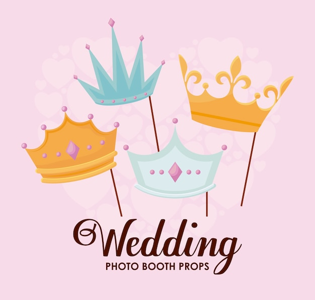 Set monarchical crowns in stick Free Vector