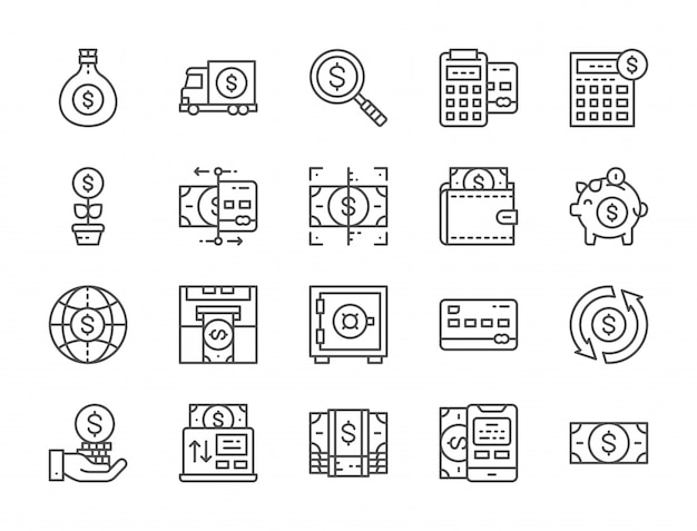 Set of money and banking line icons. online payments, terminal, atm and more. Premium Vector