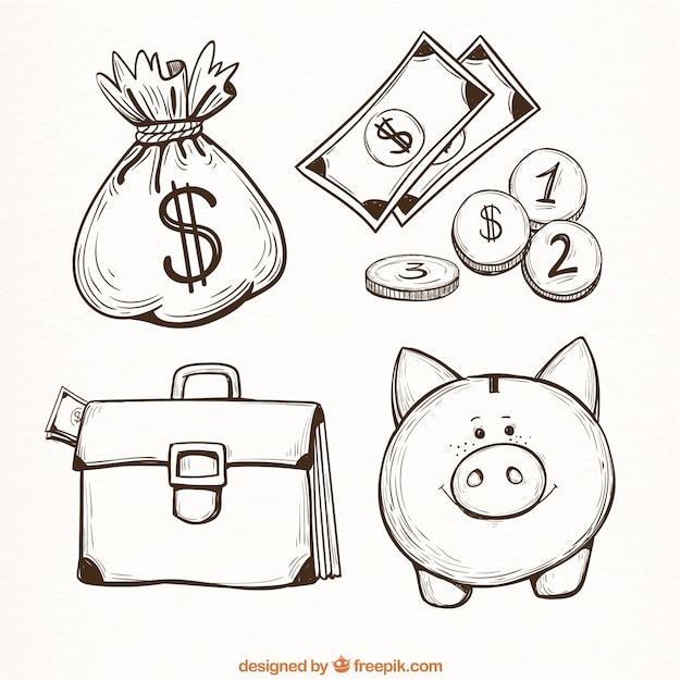 Set of money items in hand-drawn style Free Vector