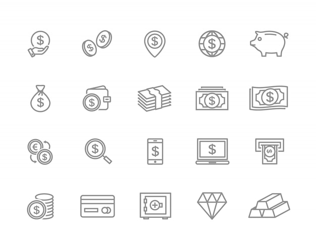 Set of money line icons. coin, cash, card, atm and more. Premium Vector