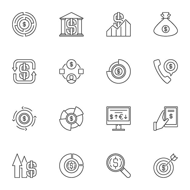 Set of money outline icons.  cash line symbols Premium Vector