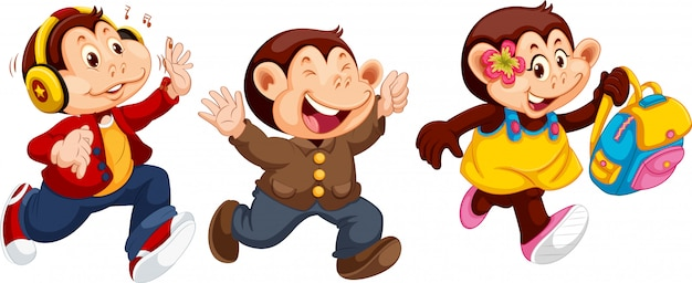 Set of monkey character Free Vector