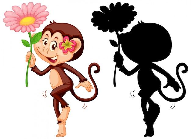 Insieme del fiore della tenuta della scimmia e della sua siluetta Vettore gratuito