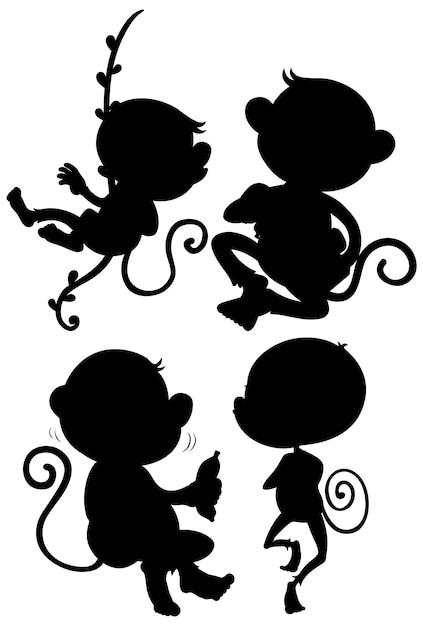 Set di sagoma scimmia Vettore gratuito