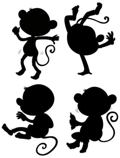 Set di silhouette di scimmia Vettore gratuito