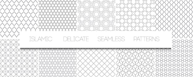 Set of   monochrome delicate islamic seamless patterns. geometric traditional arabian backgrounds. repeating oriental ornaments, textures, black and white ornaments Premium Vector