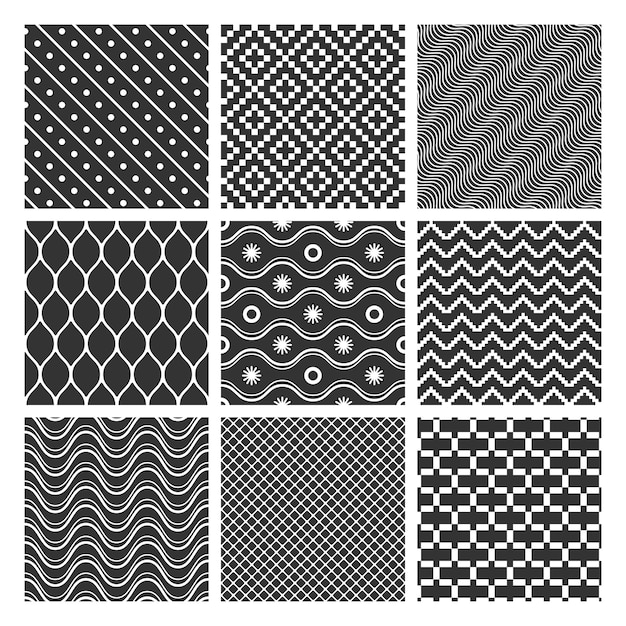 Insieme di modelli senza cuciture geometrici monocromatici Vettore gratuito