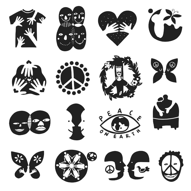 Set of monochrome international friendship symbols with peace sign, brother, children of earth, equality isolated illustration Free Vector