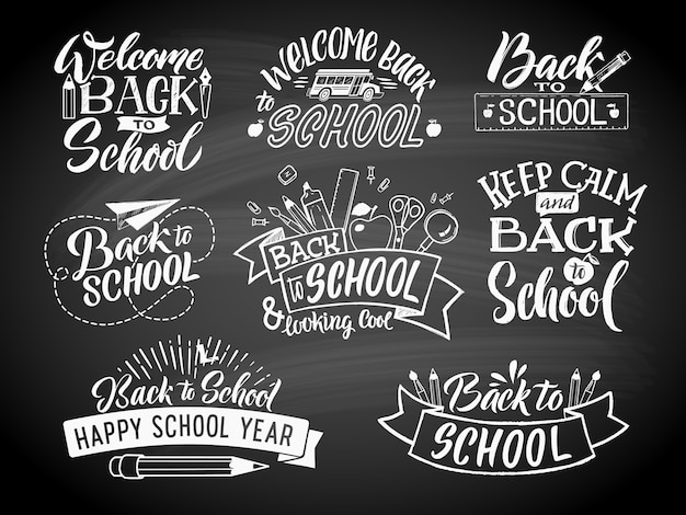Set of monochrome school labels. vector emblem design for education center or university Premium Vector