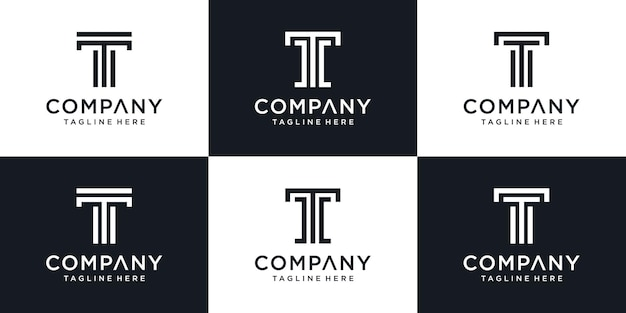 Set of monogram abstract initial letter t logo template. Premium Vector
