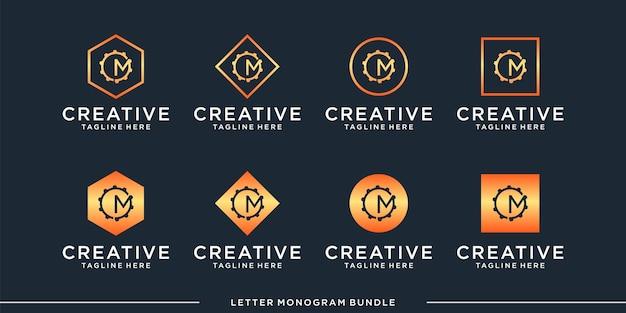 モノグラムcロゴデザインテンプレートを設定します Premiumベクター