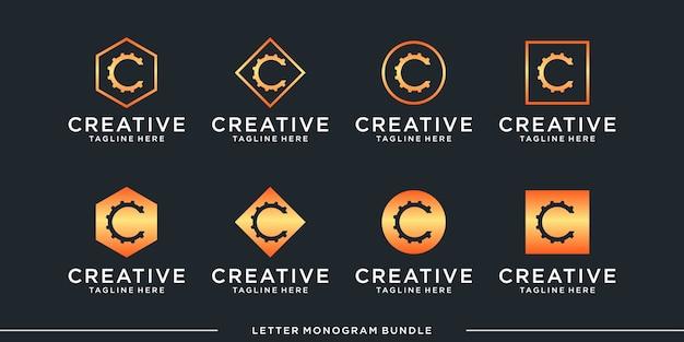 Set monogram icon initial c logo design template Premium Vector