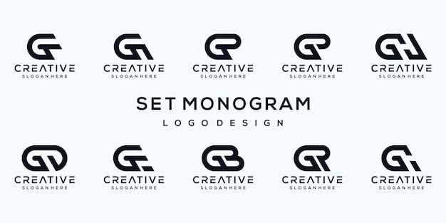 Set of monogram letter g logo template Premium Vector