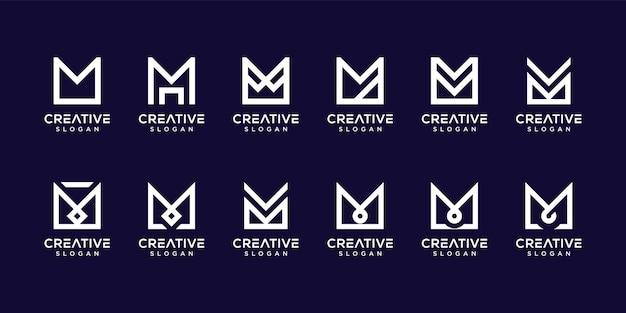 モノグラム文字mロゴを設定 Premiumベクター