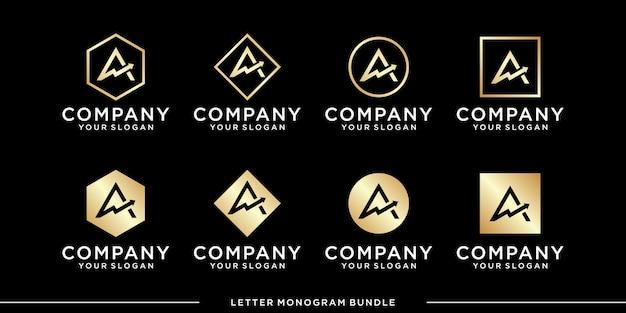 Set monogram a logo design template vector Premium Vector