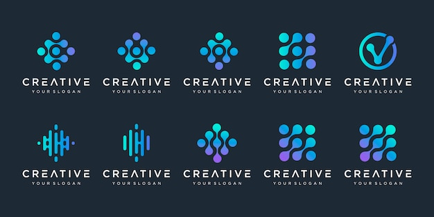 Set of monogram logo with dot concept. universal colorful biotechnology molecule atom dna chip symbol. this logo is suitable for research, science, medical, logotype, technology, lab, molecule. Premium Vector