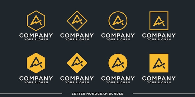 Set monogram a logo Premium Vector