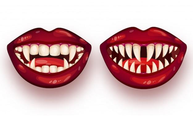 Set of monster mouth on white . Premium Vector