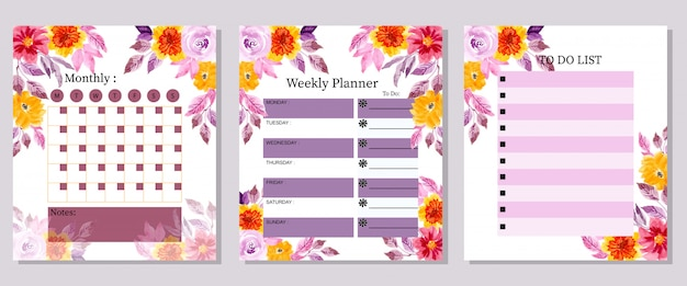 Set monthly weekly and to do list planner watercolor flower Premium Vector