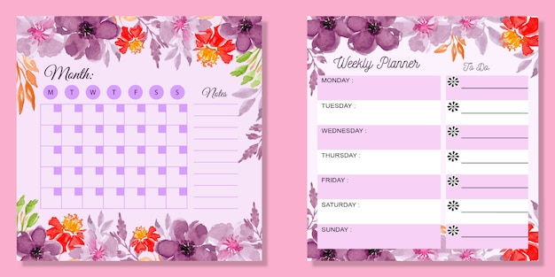 Set monthly and weekly planner watercolor floral Premium Vector