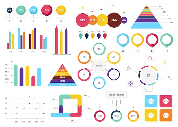 Set of most useful infographic elements - bar graphs, pie charts, steps and options Premium Vector