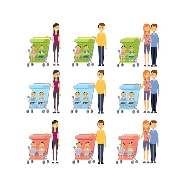 Набор мать отец разнообразные позы сын дочь двойня близнецы ребенок в коляске полная длина аватар Premium векторы