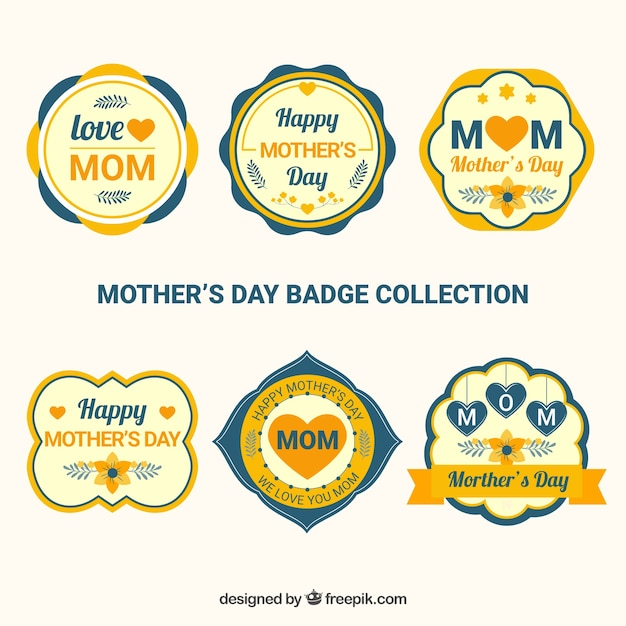 Set mother\'s day badges in flat style