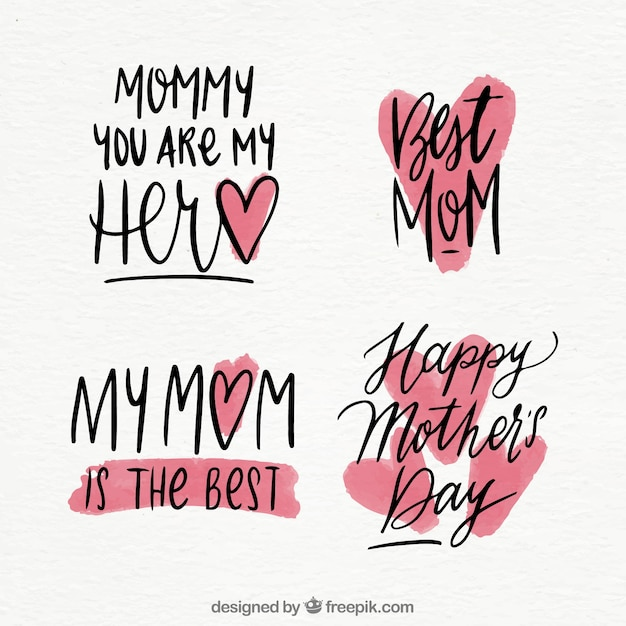 Set mother\'s day badges with lettering