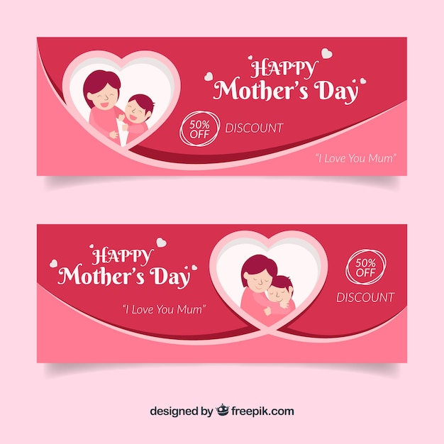 Set of mother's day banners with happy family Free Vector