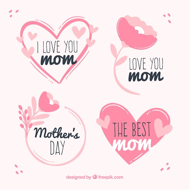 Set mother's day labels with flowers Free Vector