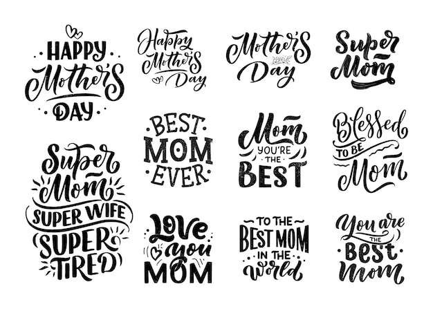 Set of mother's day lettering for gift card Premium Vector