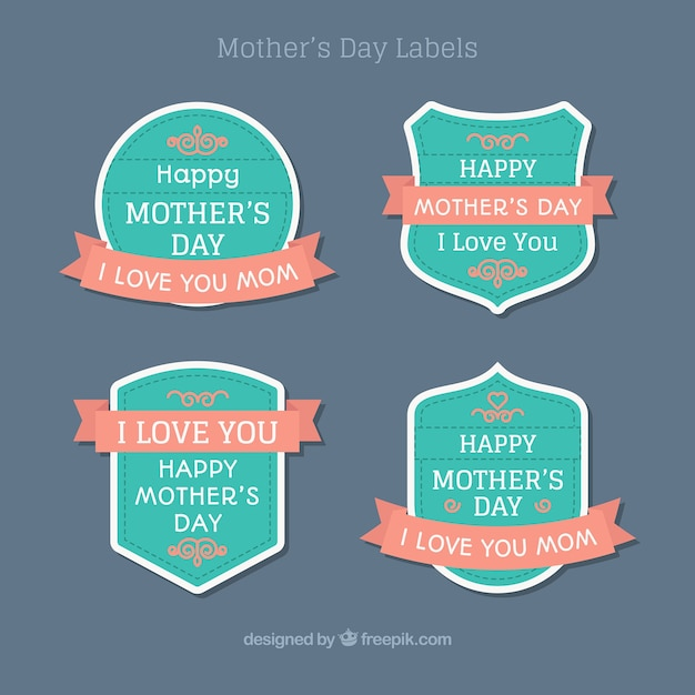 Set mother\'s day stickers in vintage\ design