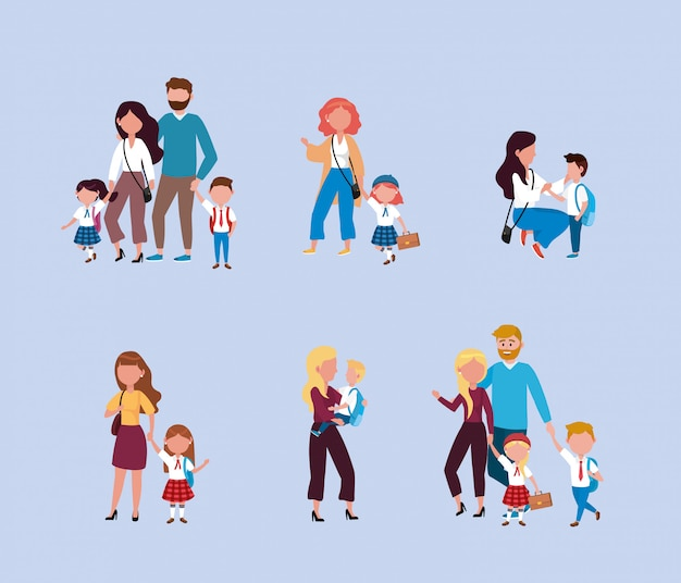 Set of mothers and fathers with their boys and girls students with backpack Free Vector