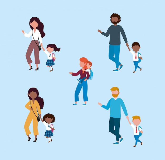 Set of mothers and fathers with their boys and girls students Free Vector