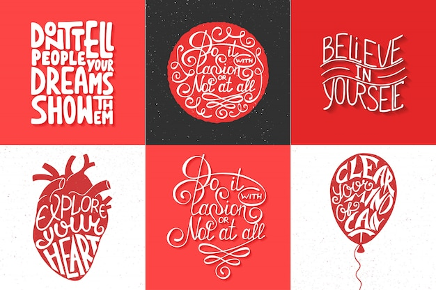 Set of motivational and inspirational typography Premium Vector