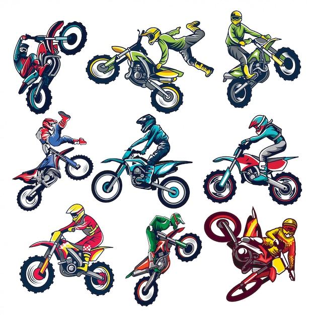 Set of motocross Premium Vector