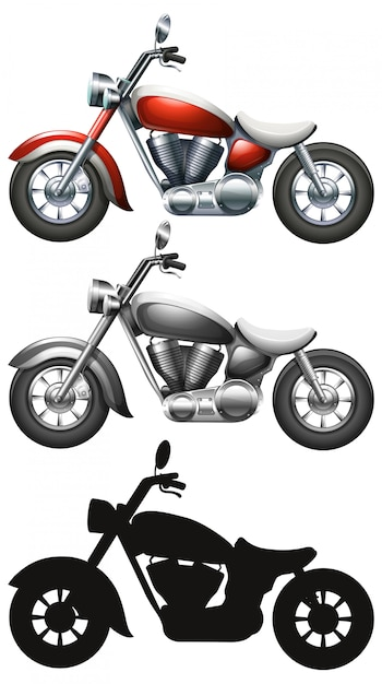 Set of motorcycle on white background Free Vector