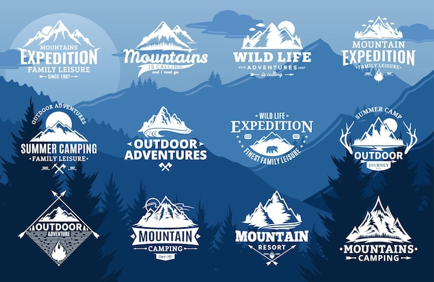 Set of mountain and outdoor adventures logo on mountain landscape background. Premium Vector