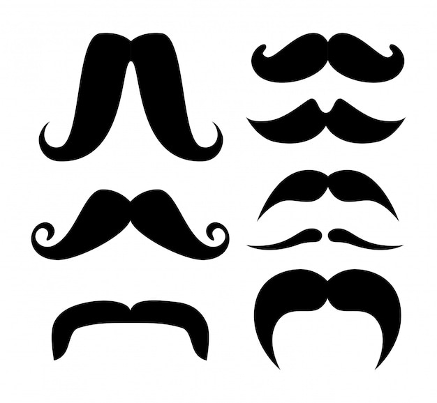 Set of moustache silhouettes Free Vector